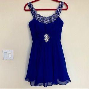 BEE DARLIN bling dress cobalt blue prom dance 5/6